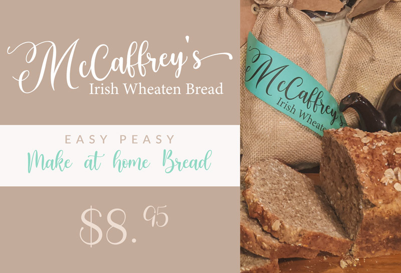 McCaffreys Irish Wheaten Bread Some of my earliest memories center on my Mother making bread on the range and the smell of pure happiness as we waited for the first slice to be cut and slathered with Irish butter and blackcurrant jam. To this day, the smell of bread baking invokes nostalgic memories of happiness and a cake of bread fresh out of the oven is still a sight to behold in my eyes. McCaffreys Irish Wheaten Bread, is our simple family recipe that you can make in the comfort of your own home. All of the ingredients are in the package and need only add buttermilk, an egg and a tablespoon of melted butter folded into the dry ingredients. Once baked you too will create happy memories without the labor of measuring and kneading. Order for your own home or as a Gift for someone Irish that is missing home this Christmas.